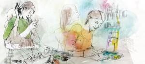 Zerrissene Frauenbiografien - Grafik von Kheira Linder