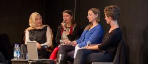 Von links nach rechts: Kübra Gümüşay, Anke Domscheit-Berg, Anne Wizorek und Julia Fritzsche, Foto: Matthias Kestel
